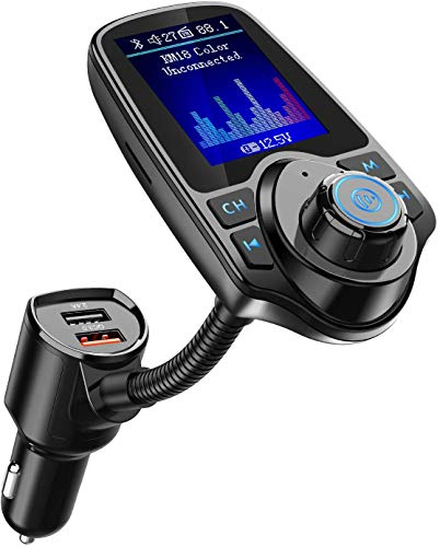 Nulaxy Bluetooth FM Transmitter for Car, 1.8' Color Screen Radio Adapter W QC3.0 & 5V/2.4A Charging, Handsfree Call, Support microSD Card, Aux Play, EQ Modes - KM18 [Upgraded Version] Black