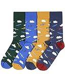 Men Bamboo Socks Aeroplane Gift Box 4pk Lg 7-11