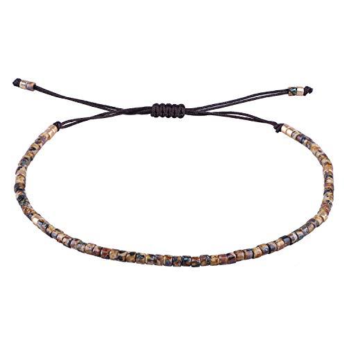 KELITCH - Braccialetto dell'amicizia fatto a mano, unisex, con corda sottile, perline e perline e Corda, colore: Spotted Caramel, cod. .