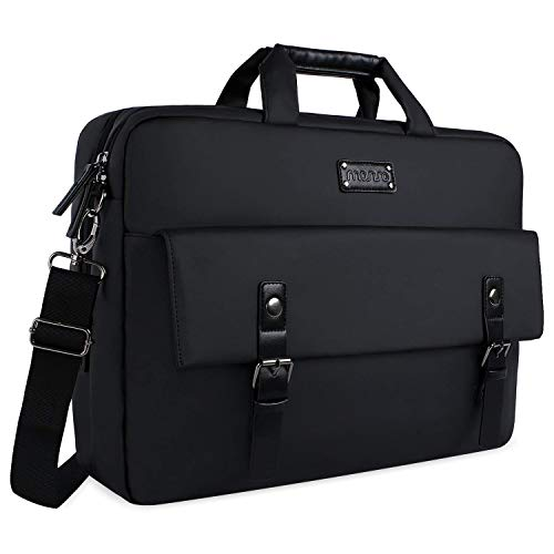 MOSISO Messenger Bag 15.6-17.3 inch, Waterproof Vintage Polyester with PU Leather Double Layer Briefcase Work Business Travel Computer Laptop Shoulder Bag with Back Belt for Trolly Case, Black