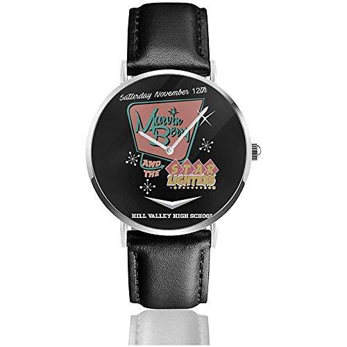 Unisex Business Casual Zurück in die Zukunft Marvin Berry und die Starlighters Uhren Quarz Leder Uhr