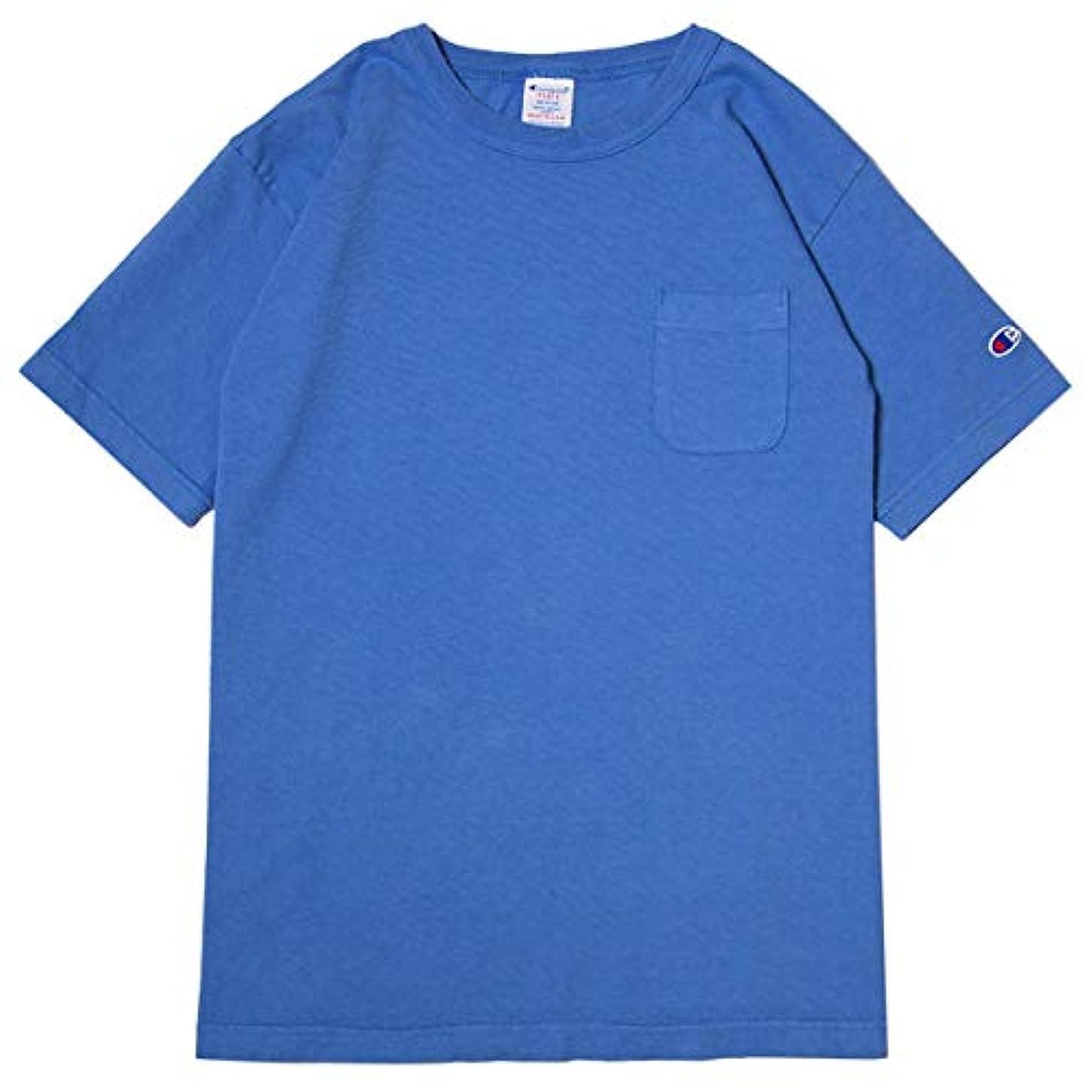 リンス寸前クレデンシャルチャンピオン Tシャツ メンズ CHAMPION T1011 ポケット付き US Tシャツ 19SS MADE IN USA ブルーグレー
