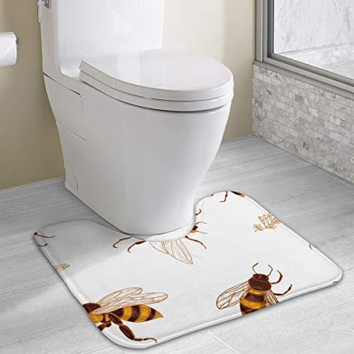 Honing Bijen en Acacia Plant Geheugen Schuim Toilet Badmat U-Shaped, Zacht en Comfortabel Toilet Mat, Badkamer Mat, Wasbaar 19x16 Inch