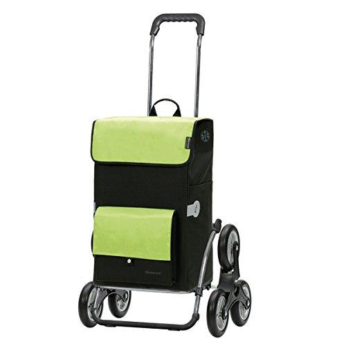 Andersen Einkaufstrolley Royal Stahlgestell als Treppensteiger klappbar und 45 Liter Einkaufstasche Asta schwarz/grün mit Kühlfach