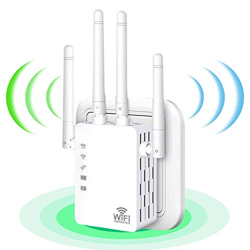 WiFi Range Extender 1200Mbps, Wireless Signal Repeater Booster 2.4 & 5GHz Dual Band 4 Antennas 360° Full Coverage,Wireless Internet Signal Amplifier, Extend WiFi Signal to Smart Home Devices