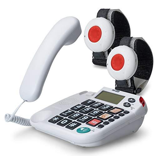 Teléfono para personas de la tercera edad con transmisor de radio para llamadas de emergencia, teléfono fijo con transmisor de pulsera y collarín, botones grandes, enchufe adaptador