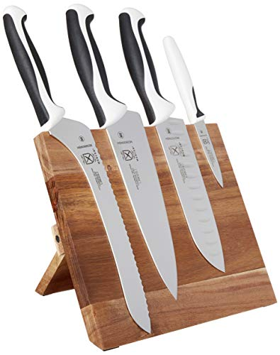 Mercer Culinary Millennia 5-Piece Magnetic Board Set Knife Block, White