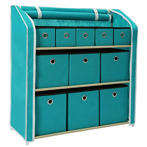 Homebi Multi-Bin Storage Organizer Cabinet Unit with Zipper Covered Foldable Bins Sturdy Metal Shelf Frame,11-Drawer,Turquoise