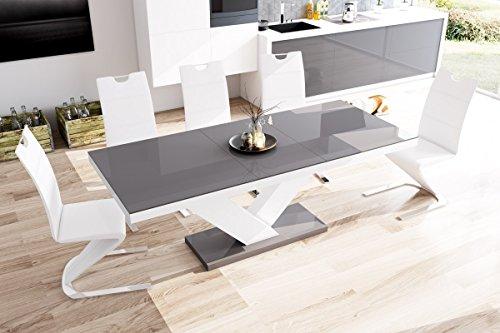 Furniture24 Design Esstisch Victoria ausziehbar 160-256 cm Hochglanz Acryl Tisch Küchentisch (Grau Hochglanz/Weiß/Grau Hochglanz)