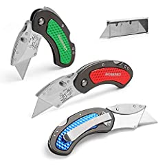 Contains 3 utility knifes with different colors: red, green and blue; Quick change blade mechanism for easy installing and releasing the blade; Lightweight aluminum grip handle with belt clip Suitable for general-purpose cutting, as cutting boxes, ro...