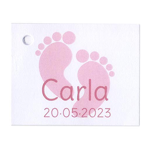 Etiqueta para detalle de Bautizo o Baby Shower huellas color rosa. Pack 25 udes.