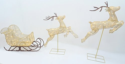 Christmas Concepts 132cm (52') Light Up LED Bronze Glitter Reindeers with Sleigh Luxury Christmas Decoration - Indoor/Outdoor Garden Christmas Decorations