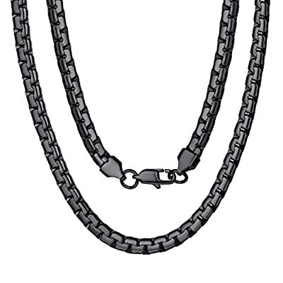 """Man Chain Black Male 18"""" 316L Stainless Steel Hip Hop Necklace"""