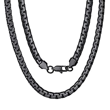 ChainsPro 3/4/6/9/12mm Box/Cuban Link Chain Necklace,14/18/22/24/26/28/30 inch, 316L Stainless Steel/18K Gold Plated…