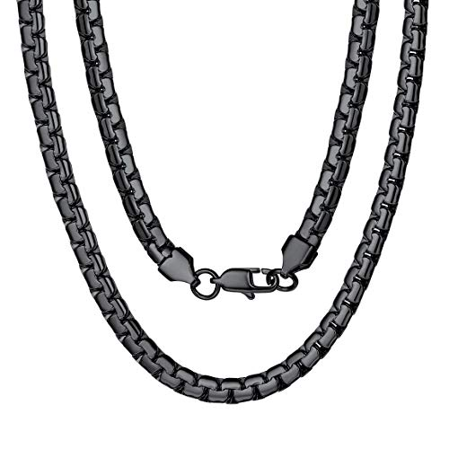 Mens Necklace Chain Black 24inch 6mm Chunky Heavy Collar