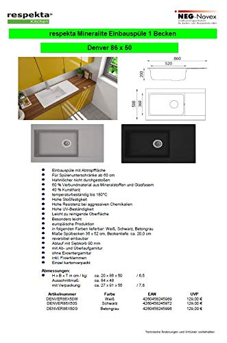 Respekta DENVER86X50S - Lavello da incasso con scolapiatti, Nero, 50 x 86 x 20 cm