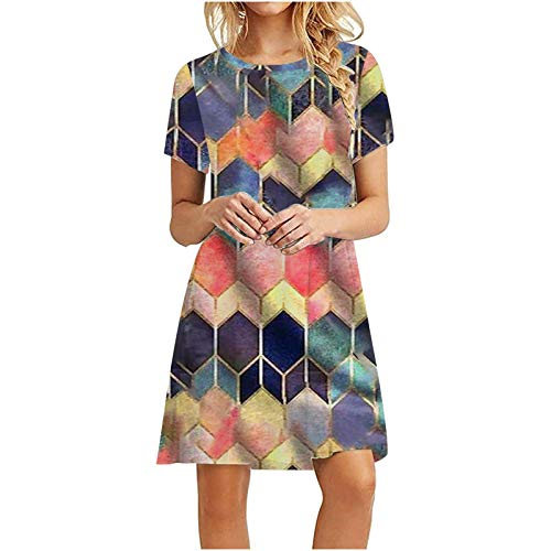 Womens Short Sleeve Shirt Dress Knee Length Floral Geometric Leopard Tie Dye Solid Color Summer Casual Swing Tunic Dress