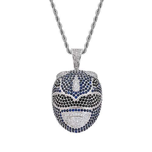 Moca Schmuck Iced Out Anime Film Charakter Anhänger 18 Karat Vergoldet Bling CZ Simulierte Diamant Hip Hop Halskette Für Männer Frauen (Silver)