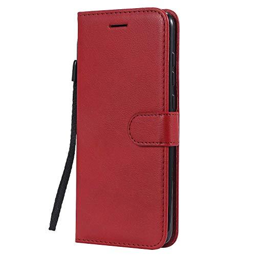 DENDICO - Funda Xiaomi MI 9 de piel sintética con tapa y tarjetero, diseño clásico de TPU para Xiaomi MI 9, color rojo