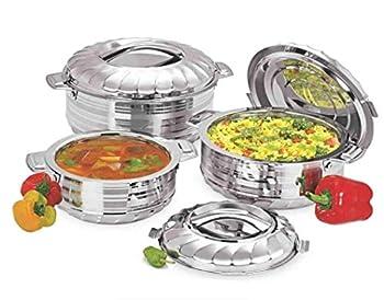 Vinod 3-Piece Insulated Casserole Food Warmer/Cooler Hot Pot Gift Set 1000mL+1500mL+2500mL Stainless Steel