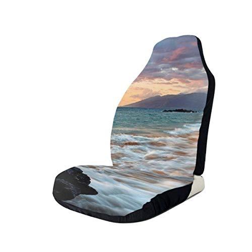 MoonW Hawaii Beautiful Sunset Auto Sitzbezug Set Integrierte Eimer mit hoher Rückenlehne - Passend für ausgewählte Fahrzeuge Auto LKW Van für Auto UV- und Wärmereflektor