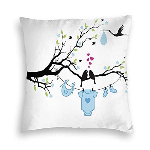 Fundas de Almohada cuadradas Decorativas Suaves Funda de cojín Love Birds On The Tree y diseño para Colgar Ropa Infantil para sofá, Dormitorio, Coche, 18 x 18 Pulgadas