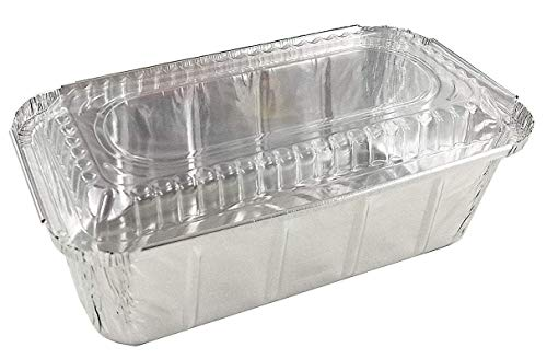 Pactogo 1 1/2 lb. IVC Disposable Aluminum Foil Loaf Bread Pan w/Clear Dome Lid (8' x 4.1' x 2.2') - Heavy Duty Made in USA (Pack of 50 Sets)