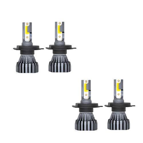 Kit de phares de voiture à LED, aluminium de remplacement pour halogène et halogène automobile, gris argenté 12 24V 12000ML 9005 9006 9012, 4 pièces,9012