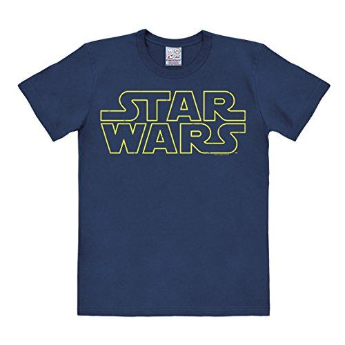 Logoshirt Camiseta La Guerra de Las Galaxias - Logotipo - Camiseta Star Wars - Logo - Camiseta con Cuello Redondo Azul Oscuro - Diseño Original con Licencia, Talla 4XL