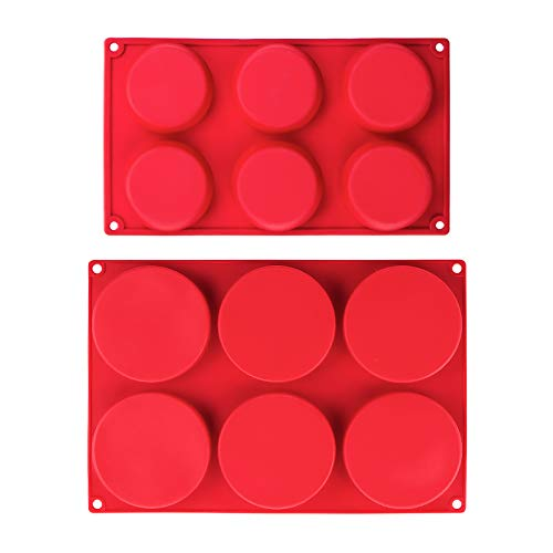 Webake Silicone Molds for 3 Inch and 4 Inch Round Disc Pan for Cake, Muffin Top, Bun, Custard, Tart, Resin Coaster, 6 Cavity, Red Set of 2