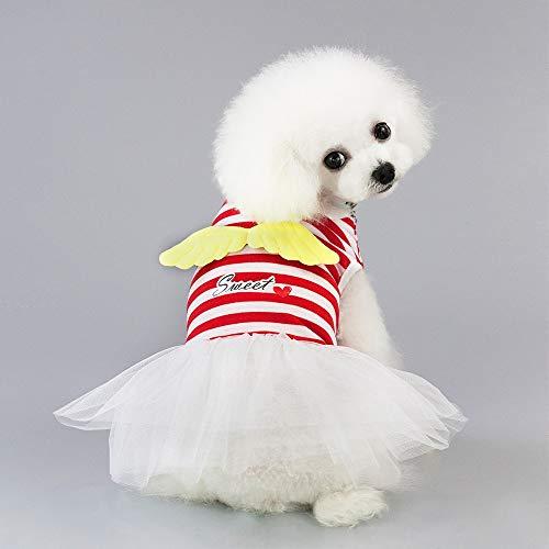 SUNXK Haustierkleidung, Haustierkleidung, Frühling und Sommer, Hunderock, Hundekleidung, Frühling und Sommer, gestreifter Rock mit 19 Engeln SUNXK (Color : Red, Size : L)