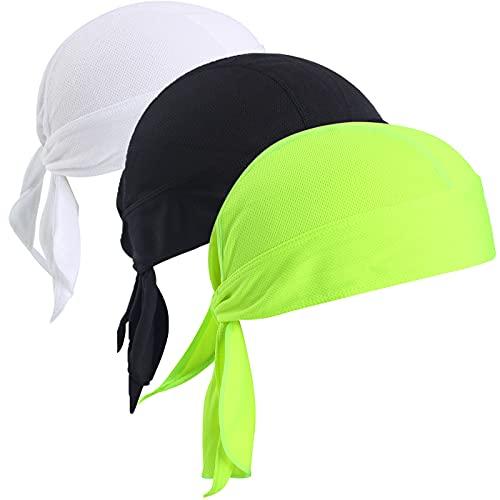 VIAUMBR Bandana para debajo del casco de bicicleta, pañuelo para la cabeza, pañuelos, tela ventilada para nadar, correr, senderismo, montañismo, ciclismo y moto, Negro + blanco + verde, 54-64