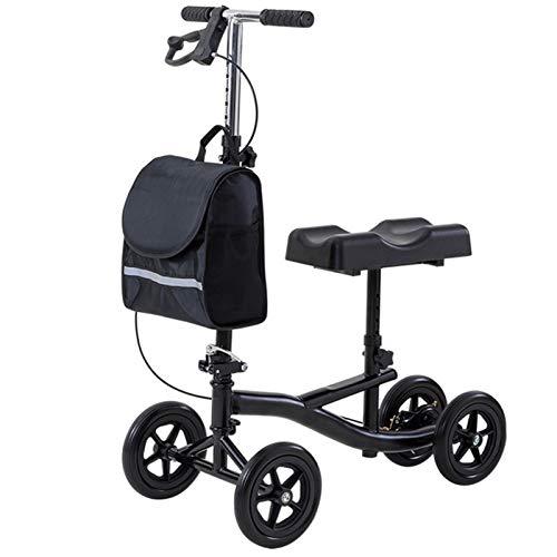 Tellgoy Andador para Patinete De Rodilla Orientable, con Freno Alternativo A La Cesta De Muleta Carro De Tracción Soporte Médico para Piernas Negro