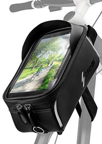 ONEFLOW® - Bolsa para marco de bicicleta resistente al agua con fijación de 3 puntos para todos los teléfonos móviles BQ, totalmente manejable, espacioso compartimento interior, color negro