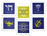 Clearstory Coasters for Drinks with Classic White, Blue and Gold Colors and Hanukkah-Themed Designs Like Star of David, Menorah and Dreidel Thick 3-ply Card Stock (12 Coasters Per Set, 4x4 Inches)