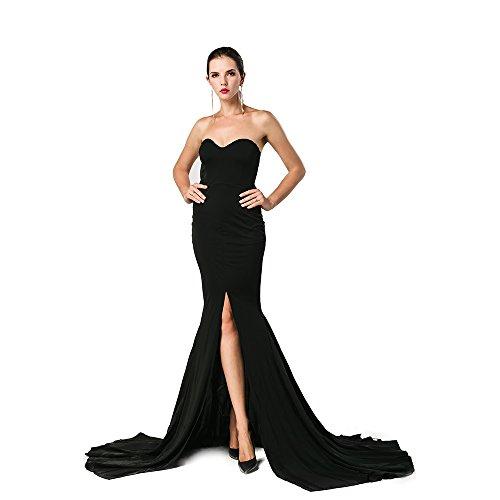 Miss ord Women Elegant Formal Strapless Asymmetric Slit Front Maxi Cocktail Party Dress Large Black