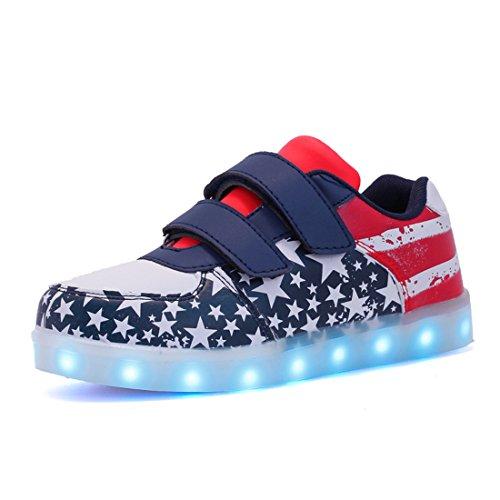 Voovix Unisex-Kinder Licht Schuhe mit Fernbedienung LED Leuchtende Blinkende Low-top Sneaker USB Aufladen Shoes für Mädchen und Jungen(Blau/X,26)