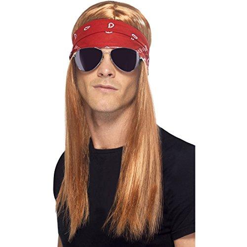 Ensemble de Déguisement Rockstar Avec Perruque Bandeau et Lunettes 3 Pièces Set de Rockeur Cheveux Hippie Accessoires Carnaval