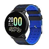 #N/A/a Smartwatch Impermeabile Orologio da Polso Rotondo con Cardiofrequenzimetro, Contapassi, Fitness Tracker, Sleep Monitor per Android iOS - Blu