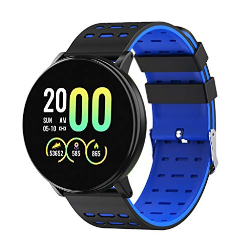 #N A a Smartwatch Impermeabile Orologio da Polso Rotondo con Cardiofrequenzimetro, Contapassi, Fitness Tracker, Sleep Monitor per Android iOS - Blu