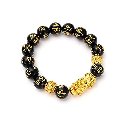 NWQEWDG Pixiu Pulsera de cuentas negras para mujeres y hombres, pulsera de cuentas de mantra tallada a mano con cuentas de mantra sánscrito dorado Pi Xiu atraen riqueza y buena suerte