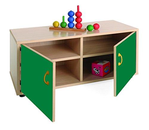 Mobeduc 600104HPS21-Mobiletto per bambini superbajo/armadio con 4 riquadri, in legno, colore: legno naturale/verde scuro, dimensioni 90 x 40 x 44 cm