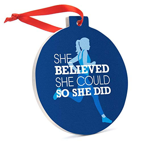 Running Round Ceramic Ornament | She Believed She Could So She Did (Blue)