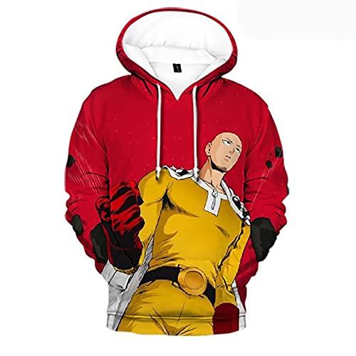 Qubei Unisex One Punch Man Stampa Felpa con Cappuccio Saitama Anime Casual Pullover Felpa Giacca (Color : D, Size : XXL)