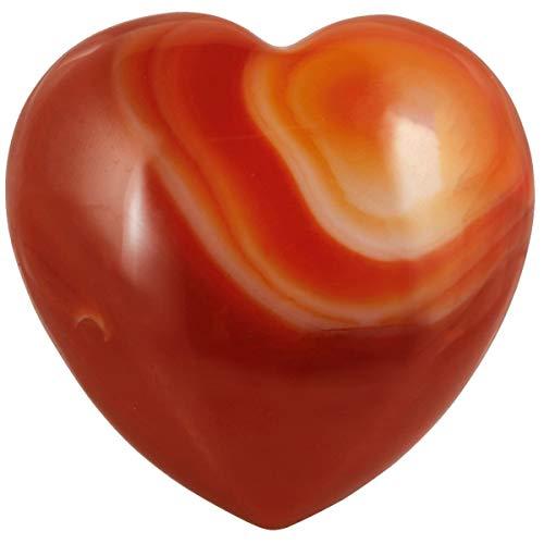 rockcloud Healing Crystal 1.6 inch Carnelian Heart Love Carved Palm Worry Stone Chakra Reiki Balancing