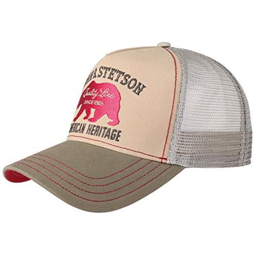 Stetson JBS-Bear Trucker Cap - Baseballcap mit Baumwolle - Basecap mit Markenstickerei - Snapback Cap mit Mesh-Einsatz - Schirmmütze Winter/Sommer - Truckercap beige One Size