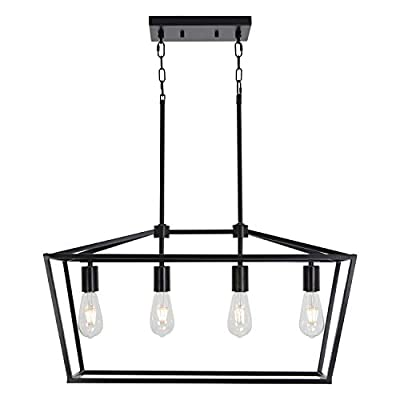 BONLICHT 1 Light Modern Lantern Dining Room Pendant Lighting,Matte Black Industrial Kitchen Island Chandelier Adjustable Hanging Height