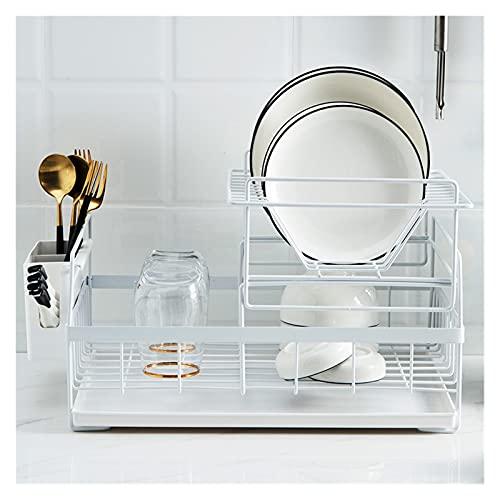 Escurreplatos de Cocina Multifunción Plato Organizador con tablero de drenaje sobre fregadero Organizador de cocina Vajilla Secado Drenador de estante Escurreplatos ( Color : White , Size : 2-tier )
