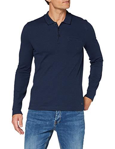 Pierre Cardin Herren Longsleeve Piqué Fineliner Stripes Polo-Pullover, Marine, S