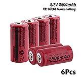 N/B 1/2/4/6/8 Piezas 3.7v 16340 CR123A 5018LC 2500mAh baterías Recargables de Litio de Litio para LED Linterna Faro Juguete Mini Ventilador 6pieces